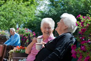 Two ladies drinking tea at the summer party
